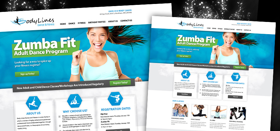 Dance & Fitness Studio Web Design Concept